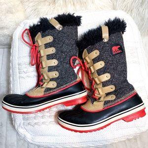 Sorel Tofino Herringbone Black Tan Orange Boot
